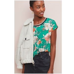 Anthropologie Yardley Floral Top Small Tee NWT New
